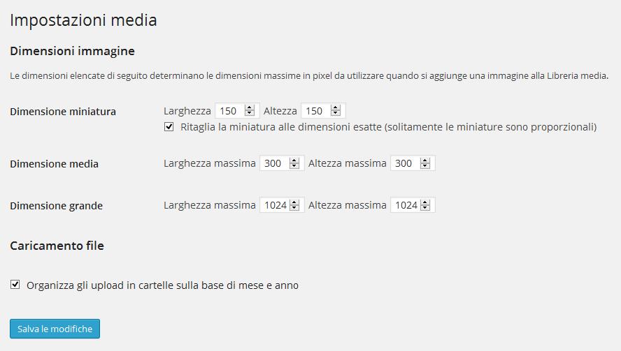 Impostazioni WordPress media (Dashboard> Impostazioni> Media)