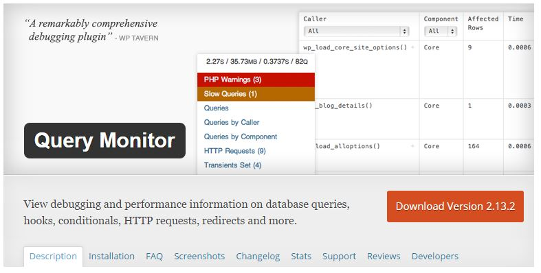 plugin query monitor WP